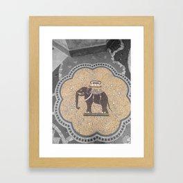 Paris elephant gold art deco black and white with color Framed Art Print