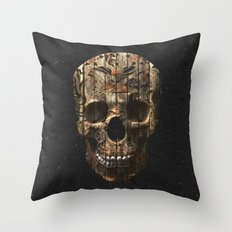 Vintage American Tattoo Skull Wood Stripes Texture Throw Pillow