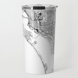 San Diego White Map Travel Mug