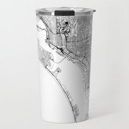 San Diego White Map Travel Mug