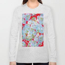 BLUE TINGED WHITE PHLOX FLOWERS RED Long Sleeve T-shirt