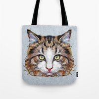 meow Tote Bags featuring MEOW by Ancello