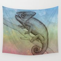 chameleon Wall Tapestries featuring Chameleon (3) by Amy Fan