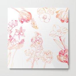 Petite Orange Floral Metal Print
