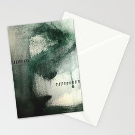 Last Kiss: a minimal, abstract watercolor piece in greens Stationery Cards