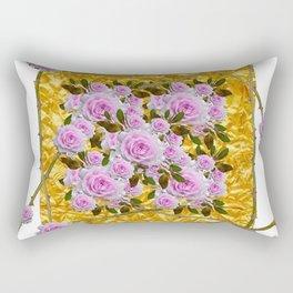 PINK ROSES THORNY CANES  METALLIC GOLD WHITE ART Rectangular Pillow
