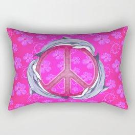 Dolphin Peace Pink Flowers Rectangular Pillow