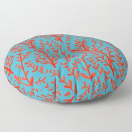 Turquoise and Red Leaves Pattern Floor Pillow