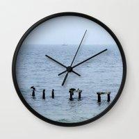 cape cod Wall Clocks featuring Gull's Perch, Cape Cod by JezRebelle