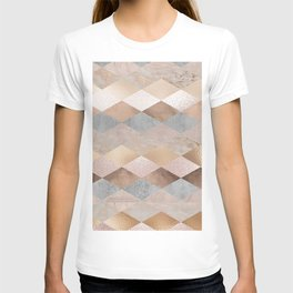 Copper and Blush Rose Gold Marble Argyle T-shirt