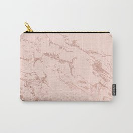 Modern rose gold glitter ombre foil blush pink marble pattern Carry-All Pouch