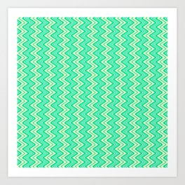Turquoise Yellow Chevron on White Southwestern Country Ranch Contemporary Design Pattern Art Print