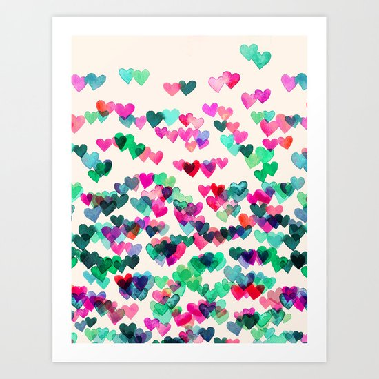 Heart Connections II - watercolor painting (color variation) Art Print