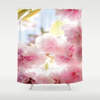 cherry blossom Shower Curtains featuring Cherry Blossom by 2sweet4words Designs