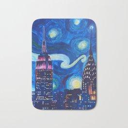 Starry Night in New York - Van Gogh Inspirations in Manhattan Bath Mat