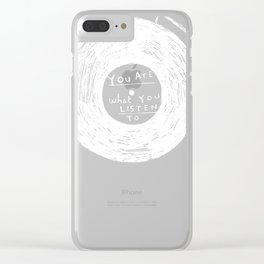 you are what you listen to, RED Clear iPhone Case