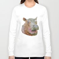 hippo Long Sleeve T-shirts featuring abstract hippo by Ancello