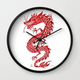 Chinese Dragon – Crimson Palette Wall Clock