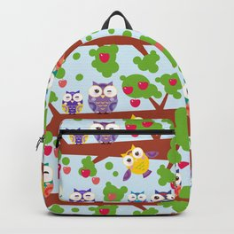 bright colorful owls on the branch of a tree with red apples on blue background Backpack