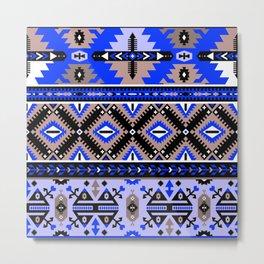 Boho Navajo Geometric Pattern Var. 2 Metal Print