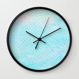 Limpet blue small scallops with paper texture Wall Clock