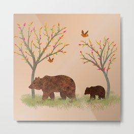 Walk In The Woods With Mama Bear Metal Print