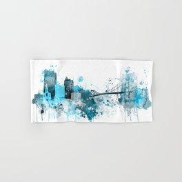 Toledo Monochrome Blue Skyline Hand & Bath Towel