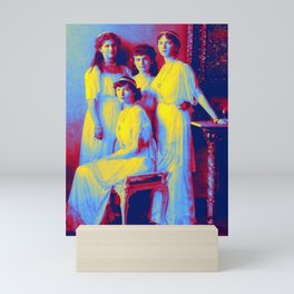 the Romanoff sisters from a group portrait Neon art by Ahmet Asar Mini Art Print