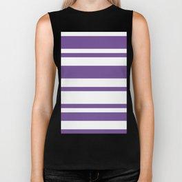 Mixed Horizontal Stripes - White and Dark Lavender Violet Biker Tank