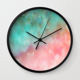 Pink and Green Watercolor Art Wall Clock