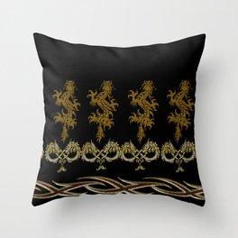 Muster Drachen - metallisch Throw Pillow