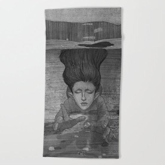 Sea Lady illustration Beach Towel