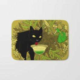 cat and green milk Bath Mat