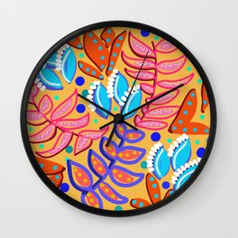 Whimsical Leaves Pattern Wall Clock