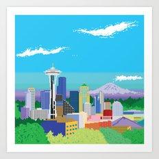 8-Bit Pixel Seattle Skyline Art Print