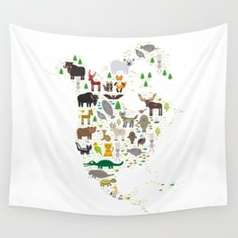 Map of North America with Animals bison bat manatee fox elk horse wolf partridge seal Polar bear Wall Tapestry