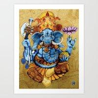ganesh Art Prints featuring Ganesh by RICHMOND ART STUDIO