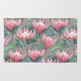 Pink Painted King Proteas on grey Rug