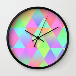 Colorful Geometric Pattern Prism Holographic Foil Triangle Texture Wall Clock