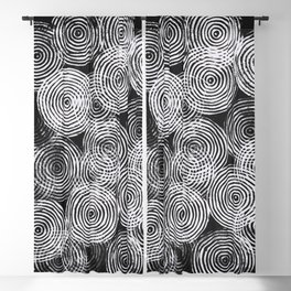 Radial Block Print in Black Blackout Curtain