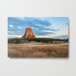 Devils Tower - Giant Monolith Drenched in Sunlight on Autumn Day in Wyoming Metal Print