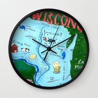 wisconsin Wall Clocks featuring WISCONSIN by Christiane Engel