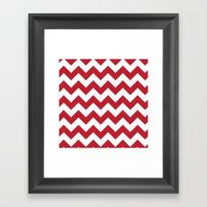 Red and White Bold Chevron Stripes Framed Art Print