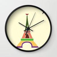eiffel tower Wall Clocks featuring Eiffel Tower by Losal Jsk