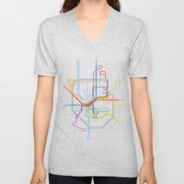 Simplified Columbus Transit Map Unisex V-Neck