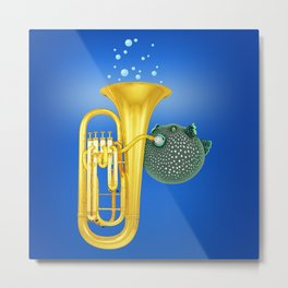 Puffer Fish Playing Tuba Metal Print