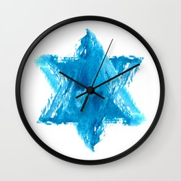 Star of David Blue Watercolor Wall Clock