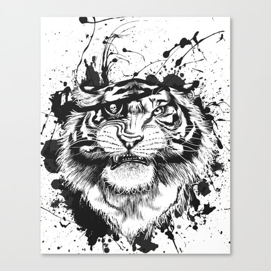 TigARRGH!! (Black and White) Canvas Print