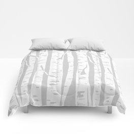 Woodcut Birches Grey Comforters