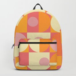 Thoroughly Modern Pink And Orange Geometric Design Backpack